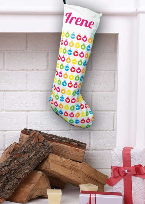 Coloured Baubles Stocking