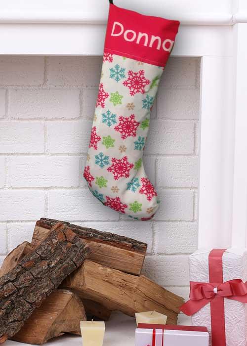 Coloured Snowflakes Stocking